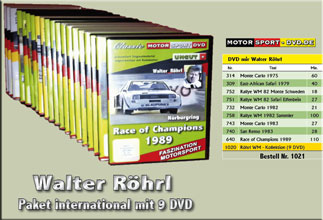 D1021* Walter Röhrl WM - Paket 9 DVD*Motorsport-DVD*rallying*Rallye