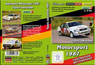 D336* Toyota Jahresfilm 1987 Corolla Trophy * Motorsport-DVD * Rallyesport