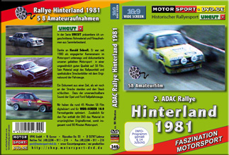 D349* 2. ADAC Rallye Hinterland 1981 in 16:9 Motorsport Rallye DVD