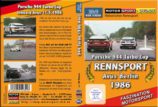 D842* 944 turbo Cup 1986 Avus Berlin in 16:9 Motorsport DVD